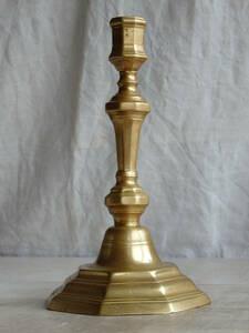 oフランスアンティーク キャンドルスタンド 真鍮 ブラス ホルダー 蝋燭立て 燭台 蚤の市 ブロカント ゴールド オクトゴナル
