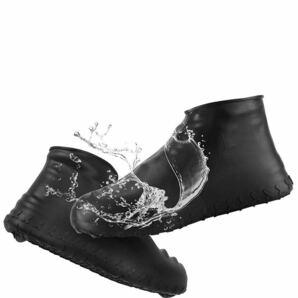 シューズカバー 防水 靴カバー シリコン アウトドア防水靴カバー 雨 梅雨対策 コンパクト軽量 携帯便利 男女兼用 子供も適用【S黑色】
