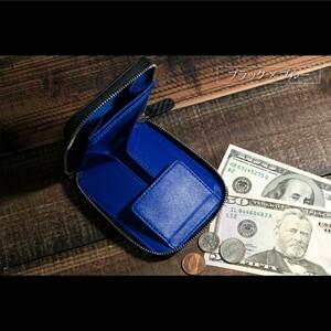 イタリアンレザー コインケース カーボン ブラック×ブルー 本革 ラウンドファスナー メンズ 二つ折り 財布 カードケース 小銭入れ 新品