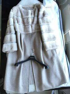 即決 極美品 FOXEY フォクシー 最高峰 品番37177 ミンクファー毛皮 ロングコート☆38サイズ ハンガー、ガーメントケース付
