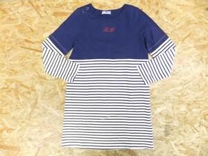 BEAMS HEART ビームスハート レディース 綿 コットン100% 重ね着風 レイヤード マリンボーダー ロンT 長袖Tシャツ ワンピース 紺 白 フリー