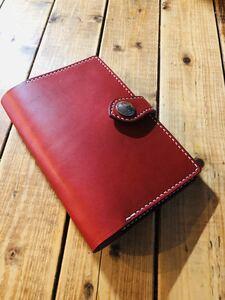 ハンドメイド 栃木レザー B6 ブックカバー システム手帳 ノートカバー 手縫い オーダーサイズ