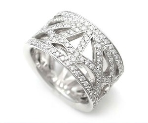 【緑屋質屋】ショーメ アトラップモワリング 全面ダイヤモンド K18WG【中古】