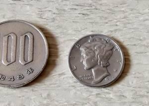 銀貨です 1944年 マーキュリー ダイム 10セント  送料無料(11048)シルバー900 USA貨幣 アメリカ コイン ドル 硬貨