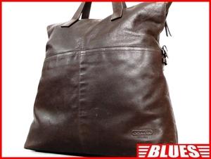 即決★COACH★オールレザートートバッグ オールドコーチ メンズ 焦茶 本革 ハンドバッグ 本皮 かばん 通勤 トラベル 鞄 カバン レディース