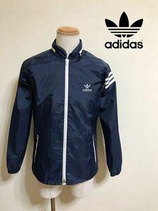 【良品】 adidas アディダス 80S ヴィンテージ ウインド ナイロン ジャケット サイズM 167-90-76 長袖 ネイビー デサント ADS-200