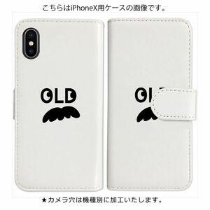 Xperia X Compact SO-02J 手帳型 ケース ホワイト ヒゲ 髭 ロゴ OLD おしゃれ