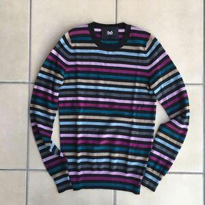 未使用 未着 D&G ディーアンドジー Dolce&Gabbana バージンウール100 マルチカラーストライプニット アンサンブル サイズ36.38 紫、黒等