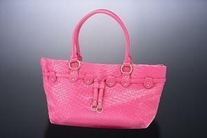 アウトレット 編み込み メッシュ トートバッグ レディース 手持ち ショルダー 鞄 ピンク 新品