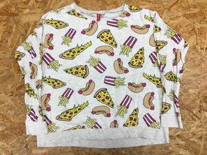 H&M DIVIDED ファンシー ジャンクフード総柄 ピザ ホットドッグ フレンチフライ 長袖Tシャツ ロンT レディース L グレー