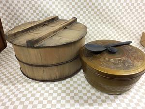 木製 おひつ 桶 ごはん 寿司 昭和レトロ 飯台 しゃもじ 飯切 手巻き 寿司桶 インテリア ジャンク アンティークビンテージ 古道具 古民具