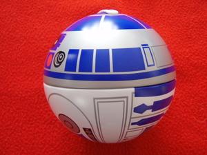 ブルボン ◆ STAR WARS スターウォーズ R2-D2 貯金箱 缶/美品used/台付き・透明ケース難あり