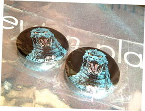 ◆ 廃盤 レトロ 非売品 明治 ノベルティ ゴジラ 缶 バッジ 2個 1993年 90年代 未使用 レア お値打ち品