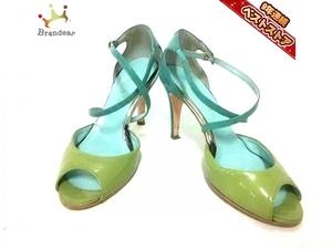 ダイアナ DIANA パンプス 22 1/2UL エナメル(レザー) ライトグリーン×ライトブルー レディース オープントゥ 靴