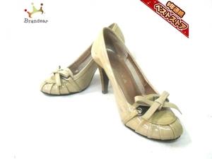 ダイアナ DIANA 靴 パンプス 21 1/2 エナメル(レザー) ベージュ レディース リボン