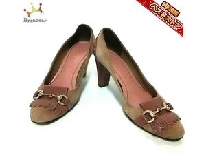 ダイアナ DIANA パンプス 23N スエード×エナメル(レザー) ベージュ×ブラウン レディース 靴