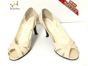 ダイアナ DIANA パンプス 23 エナメル(レザー) アイボリー レディース オープントゥ 靴