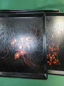 送料無料 秋草 絵替わり 木製 四方盆 5枚セット