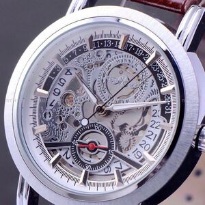 ◆新品・未使用◆高級機械式腕時計デイト白 クロノグラフ アンティーク 正規品 クオーツ 金属 革 ウオッチ フルスケルトン シーマスター