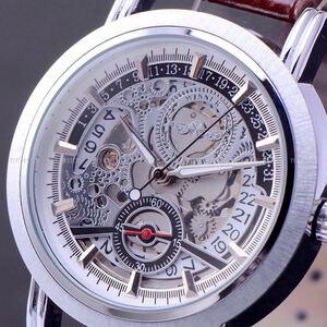 ◆新品・未使用◆高級機械式腕時計デイト白 クロノグラフ アンティーク 正規品 クオーツ金属 革 ウオッチ フルスケルトン エクスプローラー