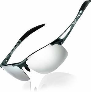 【送料無料】 DUCO スポーツサングラス メンズ 偏光サングラス UV400保護 AL-MG合金 超軽量 運転/自転車/釣り/野球 8177S シルバー
