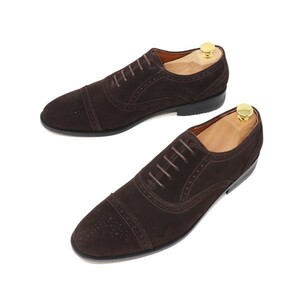 27.5cm ハンドメイド 本革 スエード ストレートチップ セミブローグ ビジネスシューズ マッケイ製法 靴 ダークブラウン 茶 S3004