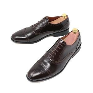 25cm ハンドメイド 本革 ストレートチップ セミブローグ ビジネスシューズ マッケイ製法 靴 ダークブラウン 3004