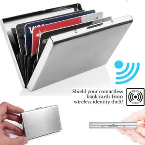 アルミ金属スリムスキャンクレジットカードホルダー Rfid ブロッキング薄型財布ケース ステンレス収納ボックス k-1930