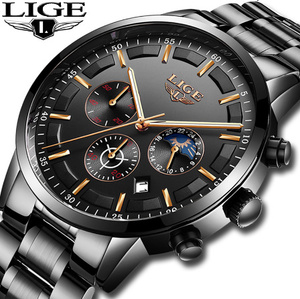 腕時計メンズ LIGE ファッションスポーツクォーツ時計メンズ腕時計トップブランドの高級ビジネス防水時計レロジオ Masculino k-2179