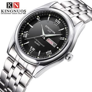 レロジオ Masculino 高級ブランドステンレス鋼 アナログ 日付ウィーク防水メンズクォーツ時計 ビジネス男性 腕時計 k-2181