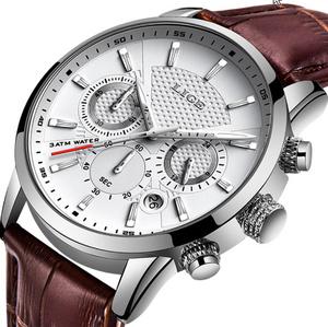 腕時計メンズファッションスポーツクォーツ時計 メンズブランド高級レザービジネス防水時計 レロジオ Masculino k-2183
