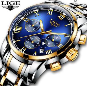 レロジオ Masculino メンズ腕時計 LIGE トップブランド 高級クロノグラフファッション腕時計 メンズビジネス防水フル鋼 k-2185