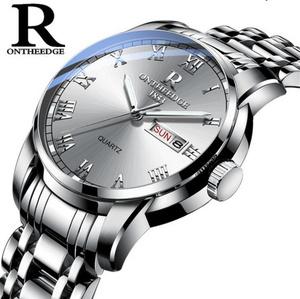 時計男性女性 ビジネス防水時計 自動日付シルバー鋼メンズ腕時計 ファッションカジュアルレディースクォーツ腕時計新 k-2186