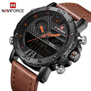 高級ブランドメンズ腕時計 メンズレザースポーツ腕時計 NAVIFORCE 男性 Led デジタル時計防水軍事腕時計 k-2321