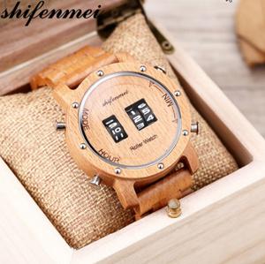 Shifenmei ウッドデジタルクォーツ時計 ローラートップ高級木製バンドクラシック腕時計 時計男性レロジオ k-2382