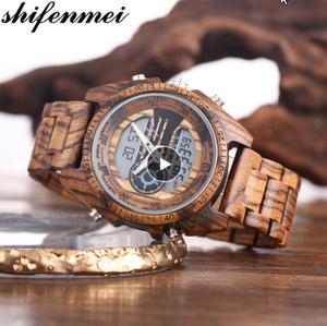 木製腕時計 スポーツクォーツメンズウォッチトップブランド 高級 LED デジタル時計 木製腕時計 男性レロジオ k-2383
