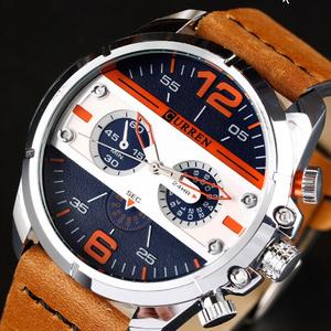 男性 高級ブランド軍ミリタリー腕時計 男性 革スポーツクォーツ腕時計 レロジオ Masculino 8259 k-2308