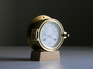 BARIGO burr go thermometer / hygrometer Φ12cm Germany made Vintage / brass chamfer glass . window ship meter