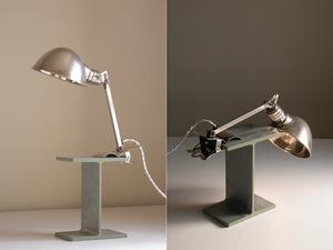 [ HALA brass made lamp + steel material base ]1930 period /a-ru deco industry series lighting Vintage Germany D.R.P.