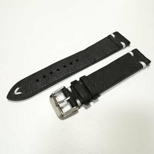 18mm クレイジーホースレザー 腕時計ベルト 黒