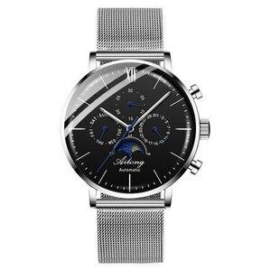 【送料無料】AILANG 機械式メンズ腕時計トップブランドの高級フル鋼サファイア自動時計男性レロジオ Masculino 防水ブルー腕時 04