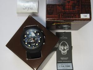 定価14700円 希少 腕時計 GSX WATCH SMART STYLE ♯48 黒  マットブラック スカル ウオッチ クォーツ クロノグラフ インディージョーンズ