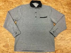 VILLAND ヴィランド LLサイズ メンズ ポロシャツ 鹿の子 レイヤードカラー 胸ポケット 長袖 カットソー グレー系