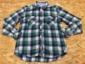 Arnold Palmer アーノルドパーマー サイズ4 メンズ シャツ 若干厚手 チェック ロゴ刺繍 両胸ポケット 長袖 綿100% グリーン×紺×オフホワ