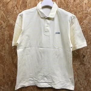 【日本製】 Crocodile クロコダイル Mサイズ メンズ ポロシャツ ボーダー 鹿の子 半袖 カットソー 綿100% イエロー×ホワイト 黄色×白