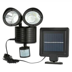 送料無料 新品 LED人感センサーライト防犯対策 22灯 搭載 850lm 太陽光 ソーラー パネル セキュリティ 照明 照射 防犯 玄関灯 庭 黒