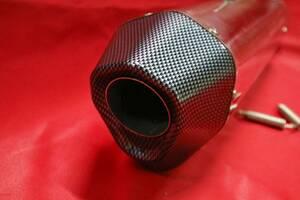 六角 大 サイレンサー テール カーボン/汎用60πステンレス60.5スリップオン マフラーGSX1300RハヤブサGSX1000S刀コニカルGPアクラボビッチ