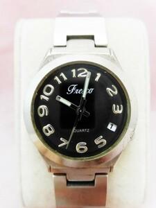 お買い得! 良品 Fresco 腕時計 フレスカ 銀色 文字盤黒色 クォーツ ユニセックス 稼働品・除菌クリーニング済 ★t332★