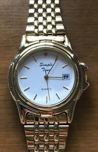 ◆美品/良品◆ Simple Time  クォーツ アナログ3針 ゴールド  稼働品 ★t138★
