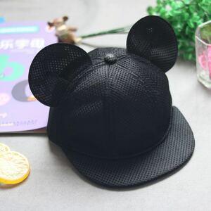 54-58cm メッシュ ミッキー風 キャップ 耳付き 帽子 黒 ブラック ディズニー コスプレ 子供 大人 サイズ調整可能